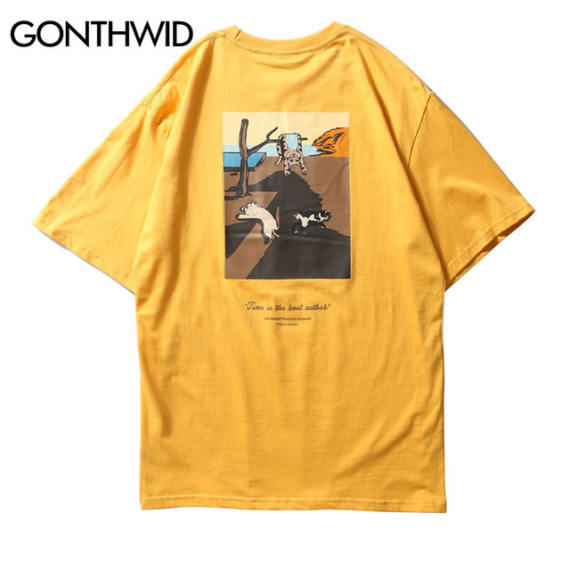 Gonthwid забавные Товары для кошек картины напечатаны короткий рукав футболки 2018 Лето Мужская Уличная Футболки хип-хоп Повседневное хлопковая Футболка Рубашки для мальчиков