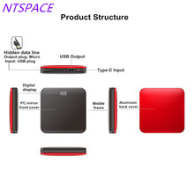 8000mAh New Fashion Mirror Aluminium Mini Power Bank 2.0A Quick Charger Dual-USB Fast Charging With Cable