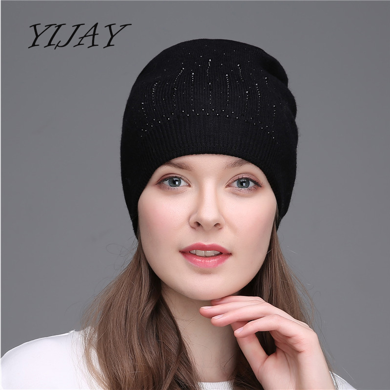 Thick wool knitting folds caps fashion autumn winter warm hats for women rhinestone   skullies     beanies   hat female besnie