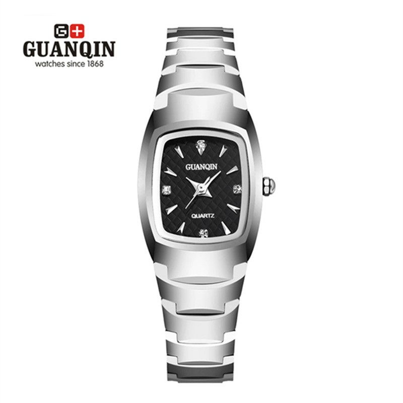 ФОТО Brand GUANQIN Quartz Watch montre femme Fashion Square Watch Tungsten Steel Female Rhinestone Women Wristwatch Woman Clock