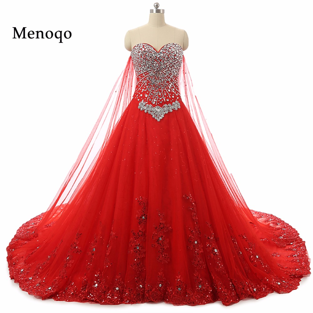 Wedding Gowns With Red: Elegant Red Ball Gown Wedding Dresses Real Sample Sexy
