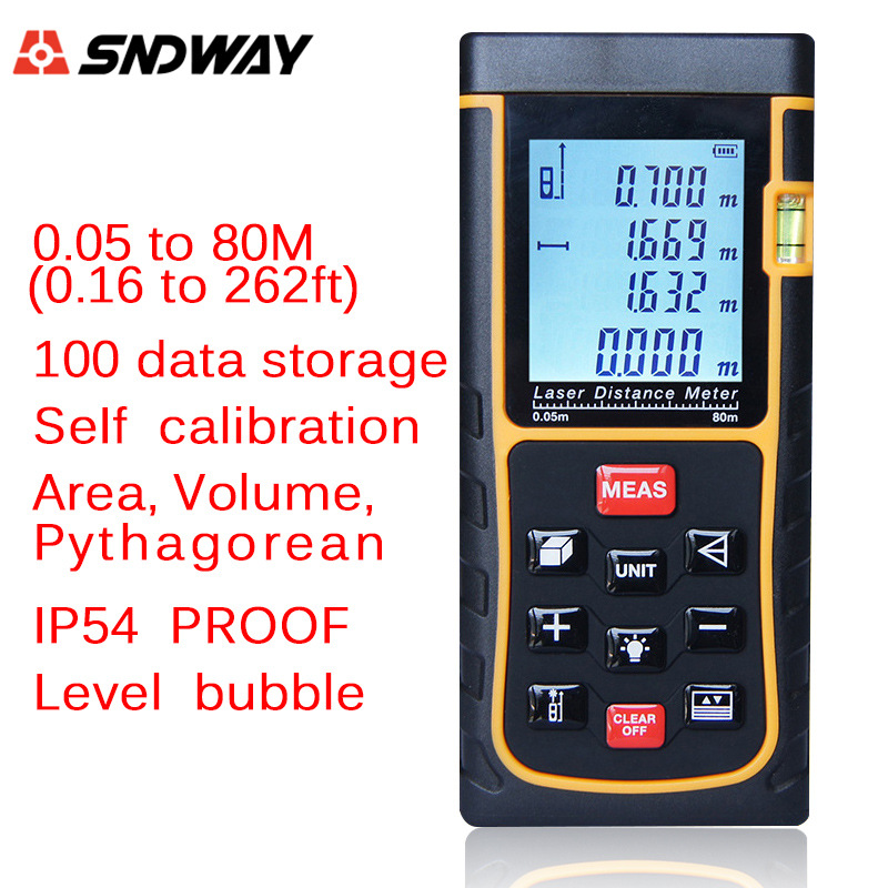 SW-E80 Laser Range Finder 80M LCD Display Laser Distance Meter Digital Range Finder Laser Tape Measure laser range finder 40m 60m 80m 100m digital laser distance meter tape area volume angle engineer measure construction tools
