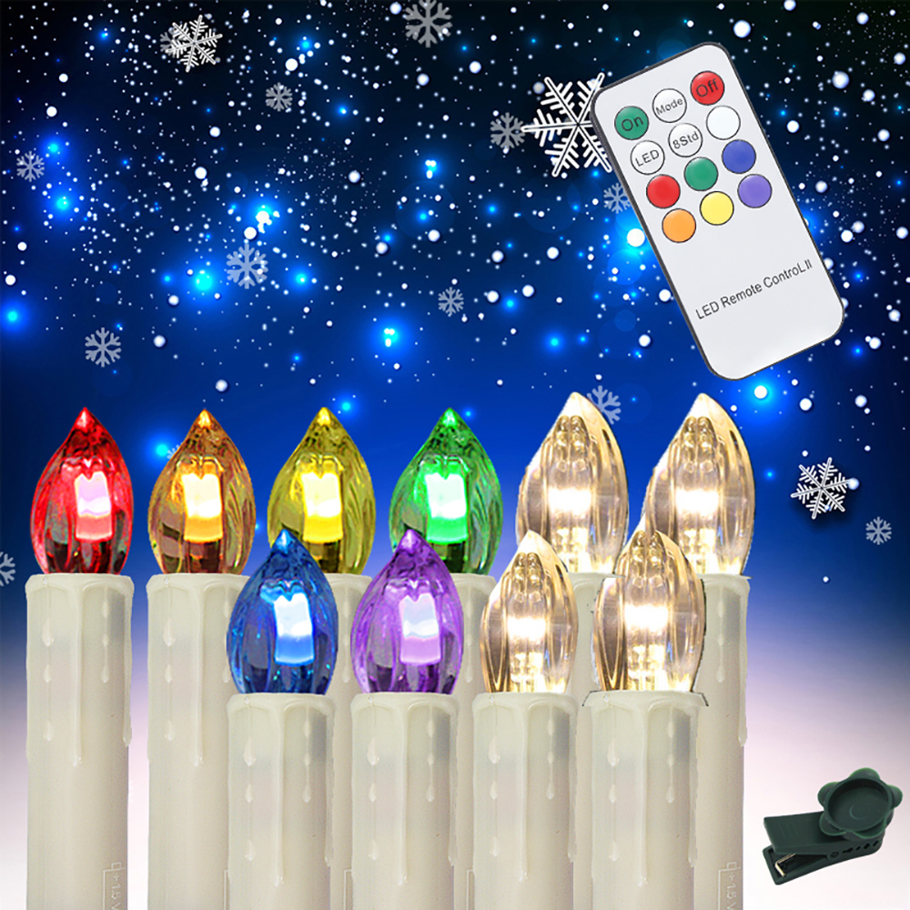 80pcs/pkg RGB Flameless Battery Powered Christmas LED Candle Flickering Xmas Tree Indoor Outdoor Decoration fancy purple led flameless candle