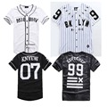 Último Rey MISBHV KNYEW BROOKLYN 99 DXPECHEF 07 Baseball Jersey de Rayas Hip Hop Marca de Ropa de Cuero Camisetas Hombres y Mujeres Camisetas