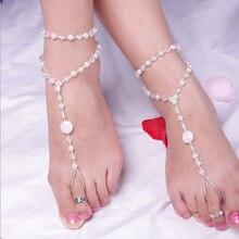 1 piezas individuales de moda pulsera de tobillo mujeres playa imitación perla Barefoot sandalia Tornozeleira Femininas joyería tobillera pies cadena