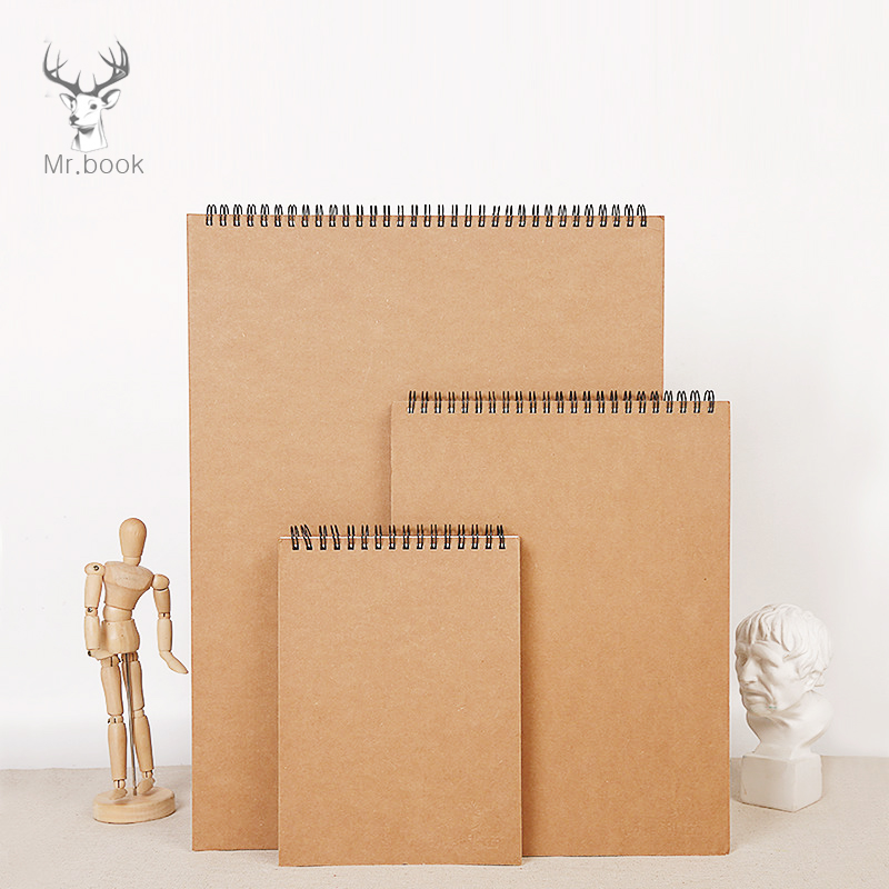 A3 A4 A5 Sketchbook Diary For Drawing Painting Graffiti Kraft Paper Cover Sketch Book Memo Pad Spiral Notebook School Supplies