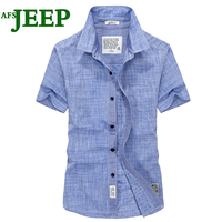AFS JEEP Best Selling Solid Color Men Shirts Brand High Quality Popular Short Sleeves Personality Denim