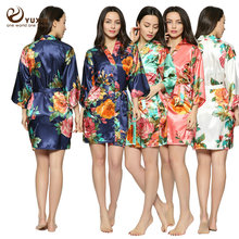 Large floral LF001 Silk Satin Wedding Bride Bridesmaid Robe Floral Bathrobe Short Kimono Robe Fashion Dressing Gown For Women(China)