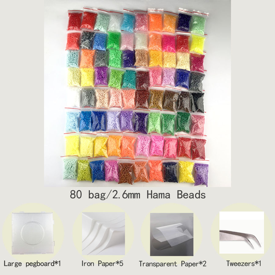 Mini 2.6 Hama Beads Perler PUPUKOU Beads And Tool 2.6mm Pegboard Education Toy Fuse Bead Jigsaw Puzzle 3D For Children