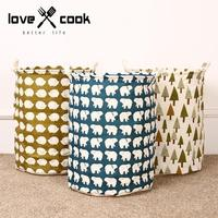 Hot sale Bear Pattern Laundry Bag with grip Pouch Canvas Storage Bag for Toys Clothes,Baby Kids Toys Storage Bag Storage bucket