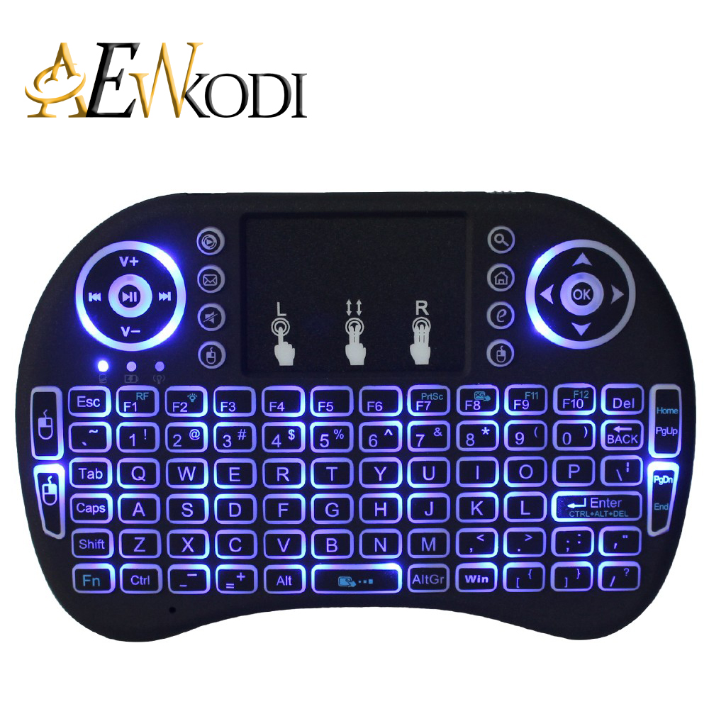 I8 Russian English Version 2.4GHz Mini Wireless Keyboard Air Mouse Touchpad Blacklight Backlit for Android TV BOX Laptop PC 2 4g mini wireless keyboard touchpad numeric keyboard charging switch screen for desktop laptop table