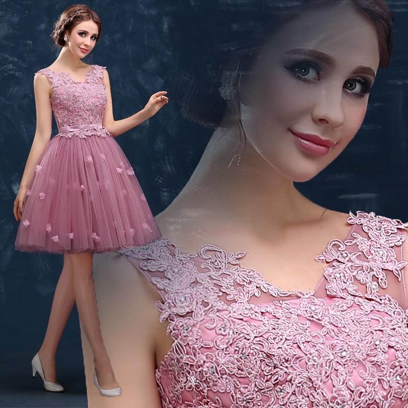 Rosa-Vestidos-de-Baile-2015-Novo-Chegada-A-Noiva-Banquete-Doce-Lace-Bordados-Beading-Curto-Mini (2)