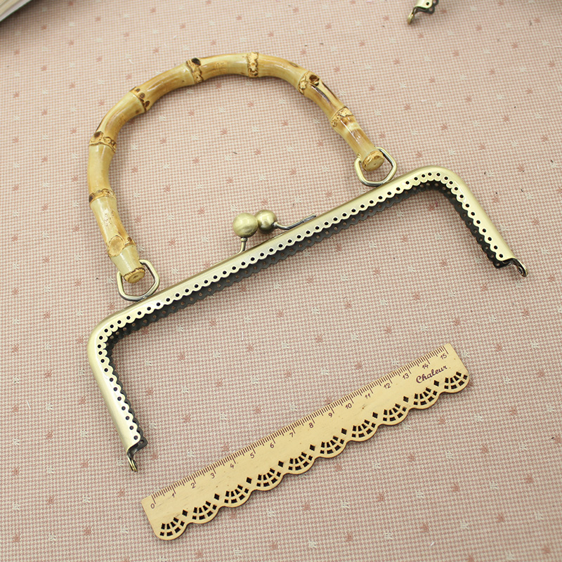 Vintage 5Pcs/lot 20.5cm Bamboo Handle Knurling Metal Opening Bags DIY Sewing Bag Accessories Purse Frame Mouth Gold Kiss Clasp