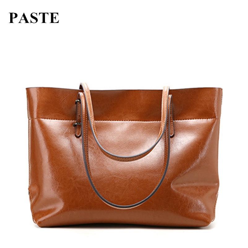 2017 New Simple Design Luxury Oil Waxing Cow Leather Women One Shoulder Bags Fashion Bag Big Bag Women Horizontal Handbags 2016 new simple color block rivets design women s shoulder bag