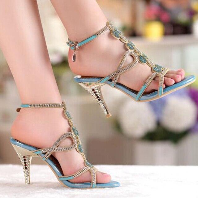 Popular Gold & Blue Sandal Floral Rhinestones 8cm High Heels Prom ...