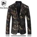 Fire Kirin Blazer Men 2017 Luxury Mens Leopard Print Blazer Stylish Stage Costumes For Singers Wedding Blazers Casual Suit Q230