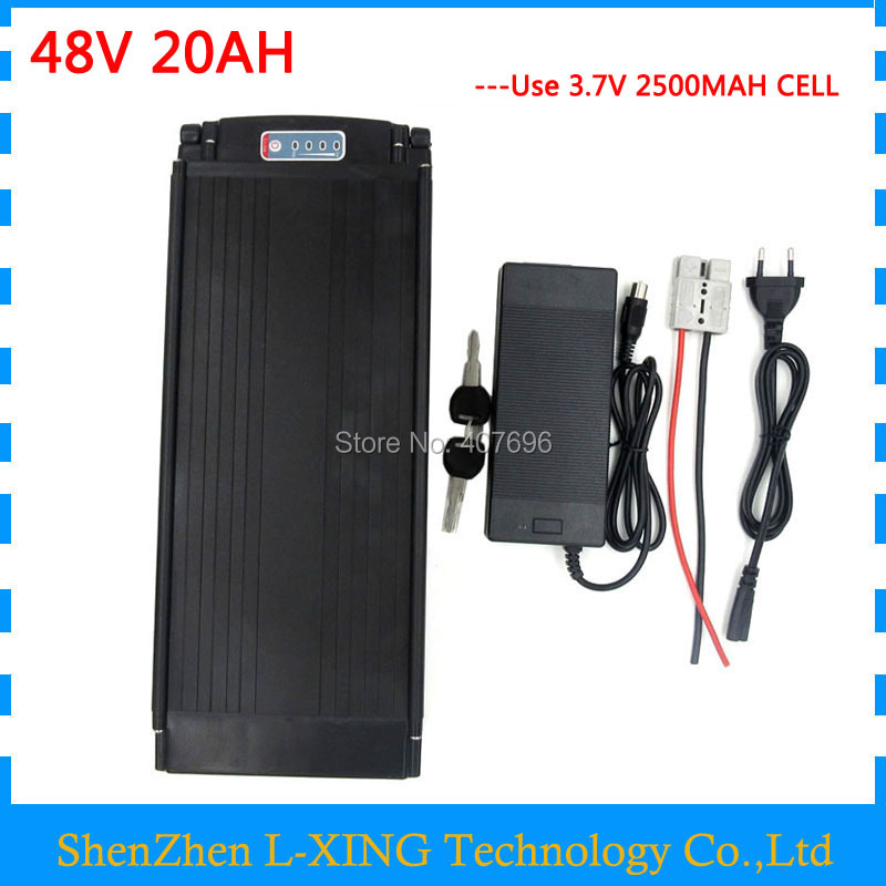 48V battery 20AH 1000W 48V rear rack battery 48 V 20AH use 2500mah 18650 cell 30A BMS 2A Charger free shipping