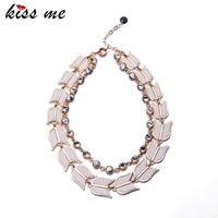 OL Style Shining Crystal Chain Fan Collar Necklace Women Party Dress Accessories Factory Wholesale