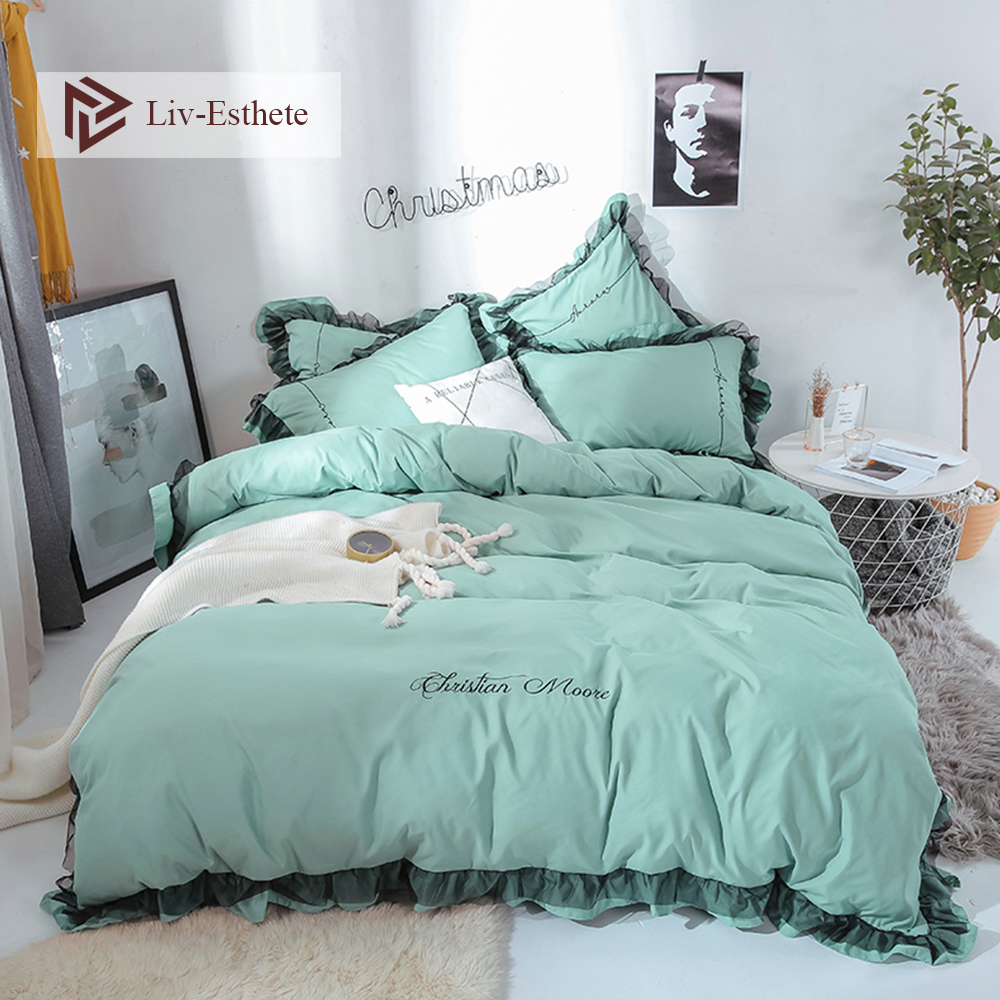 Liv-Esthete Luxury Beauty Green Bedding Set Lace Duvet Cover Flat Sheet Bedclothes Double Queen King Bed Linen For Girl GiftLiv-Esthete Luxury Beauty Green Bedding Set Lace Duvet Cover Flat Sheet Bedclothes Double Queen King Bed Linen For Girl Gift