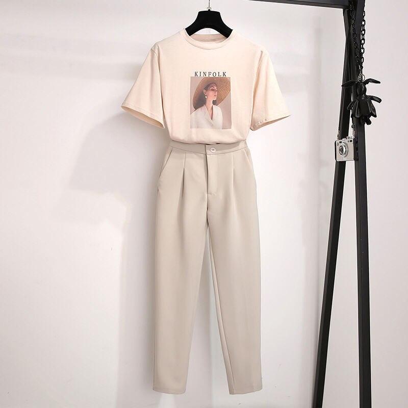 Summer Women Two Piece Set Top And Pants Print Tshirts + Pants Sweat Suit 2pcs Sets Casual Conjuntos De Mujer Dresy Damskie