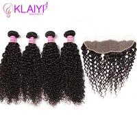 Klaiyi волосы плетение малазийские вьющиеся человеческие волосы пучки с фронтальным 5 шт./лот уха до уха Frontals 100% remy волосы синтетический Frontal шн