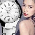 1 Par 2 UNID Par Reloj de la Marca de Lujo de Cuarzo Calendario Relojes de Acero Inoxidable Fecha reloj de Pulsera Relojes 2015 Reloj de Los Amantes regalo
