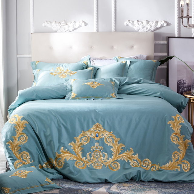 2018 Princess style Embroidery green linens duvet cover set Egyptian cotton Queen Double/King Size 4/7pcs bedding sets