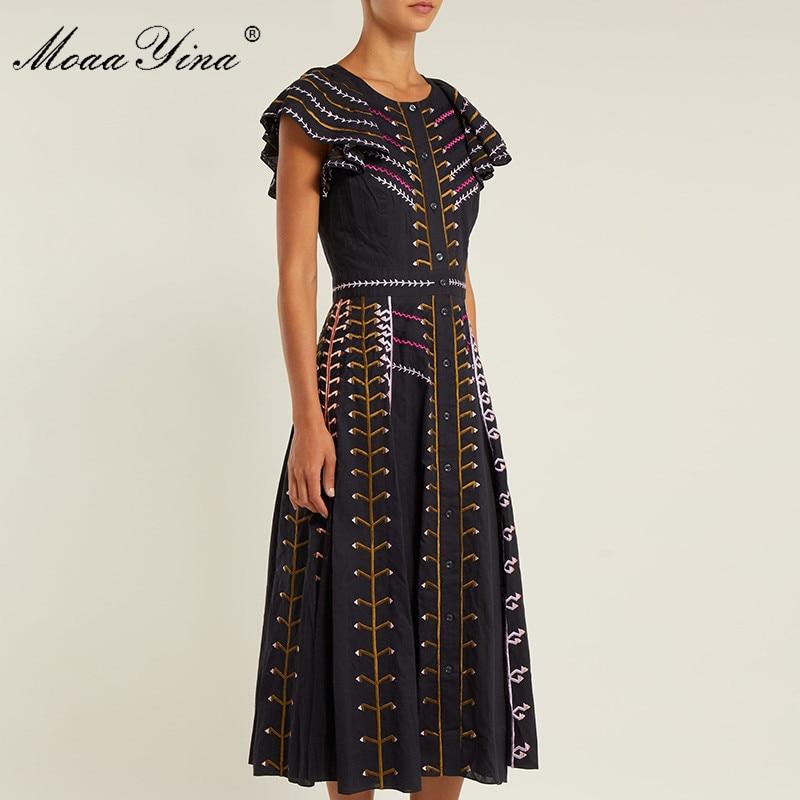 Slim De D'été Fashion Vintage Manches Designer Robe Femmes Élégantes Noir Broderie Flare Bande Moaayina Piste Robes I4OXqwaa
