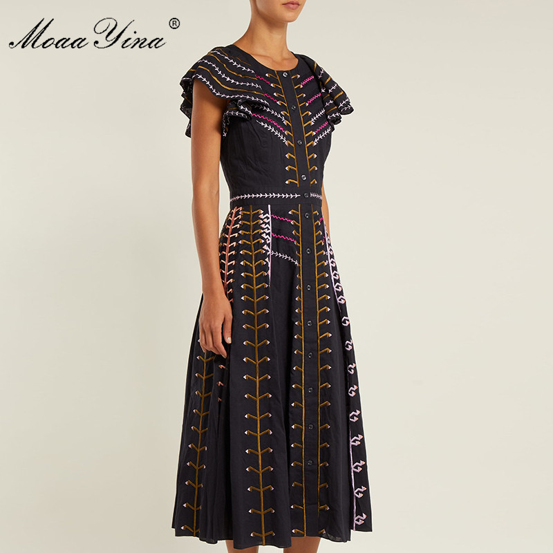 MoaaYina mode Designer robe de piste d'été femmes robe Flare manches rayure broderie noir Vintage mince élégant robes