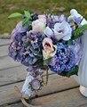 Ручной искусственный цветок шелк цветок свадебный цветок свадебный букет старинные деревенский фиолетовый отдела