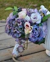 זר כלה פרחים לחתונה פרח משי פרח מלאכותי בעבודת יד בציר כפרי מחלקה סגולה