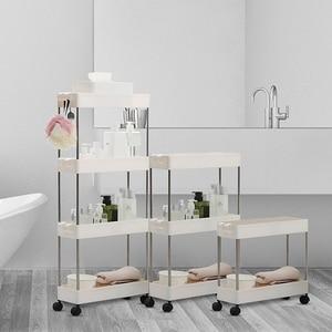 Image 2 - 2/3/4 Layer Gap Storage Rack Kitchen Slim Slide Tower Movable Assemble Plastic Bathroom Shelf Wheels Space Saving Organizer
