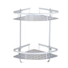 No Drilling Bathroom Corner Shelves, Aluminum 2 Tier Shower Shelf Caddy Adhesive Storage Basket For Shampoo lyss 5 tier corner ladder bookcase shelf