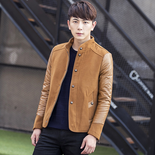 900d986849 2017 Autumn Winter Men Wool Coats Jackets Single Breasted Thickening  Overcoat Stand Collar Trench Casual Male
