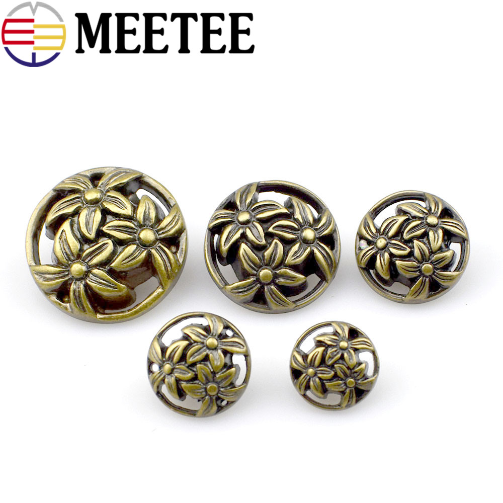 Shank Button Round Antique Copper Spray Painted Single Hole Flower Pattern 12-25mm 50 PCs retro British wind coat button B1-4