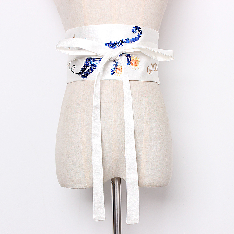 Women's Runway Fashion Embroidery Satin Cummerbunds Female Vintage Dress Corsets Waistband Belts Decoration Wide Belt R1265