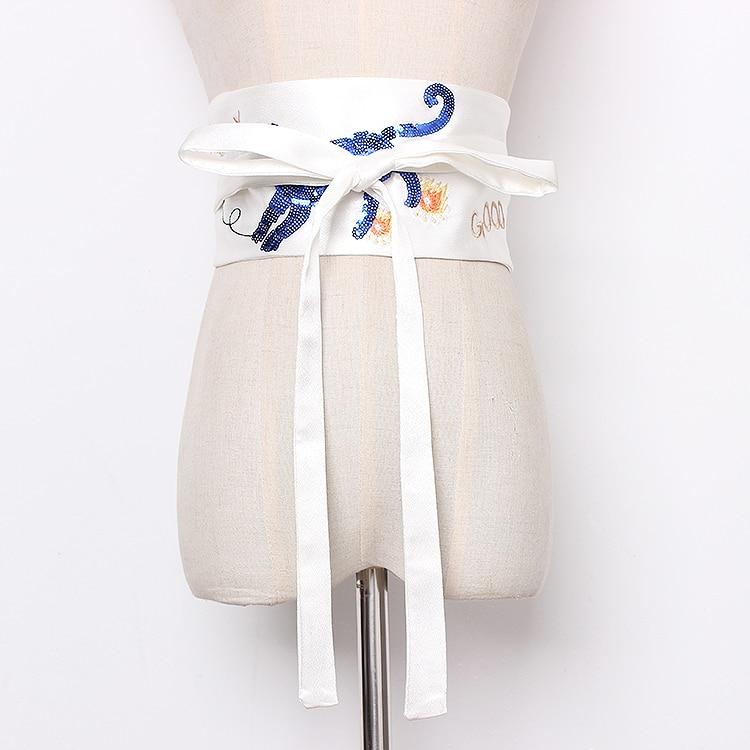 Women's Runway Fashion Embroidery Satin Cummerbunds Female Vintage Dress Corsets Waistband Belts Decoration Wide Belt R1265