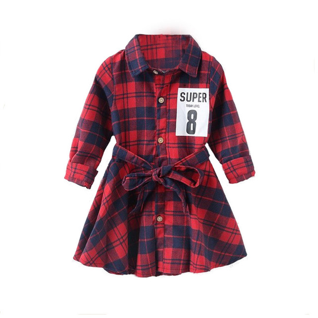 autumn long sleeves christmas girl dress plaid shirt casual dresses printing kids party polo shirts toddler - Christmas Plaid Shirt