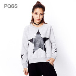 Pass winter new arrival 2017 woman sweatshirt printed stars o neck fashion cotton casual stylish short.jpg 250x250
