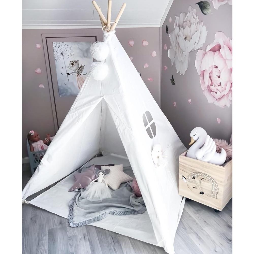 Crianças teepee jogar tenda 100% algodão lona crianças tipi playhouse interior sala de brinquedo ao ar livre meninos meninas presente do bebê branco cru com esteira