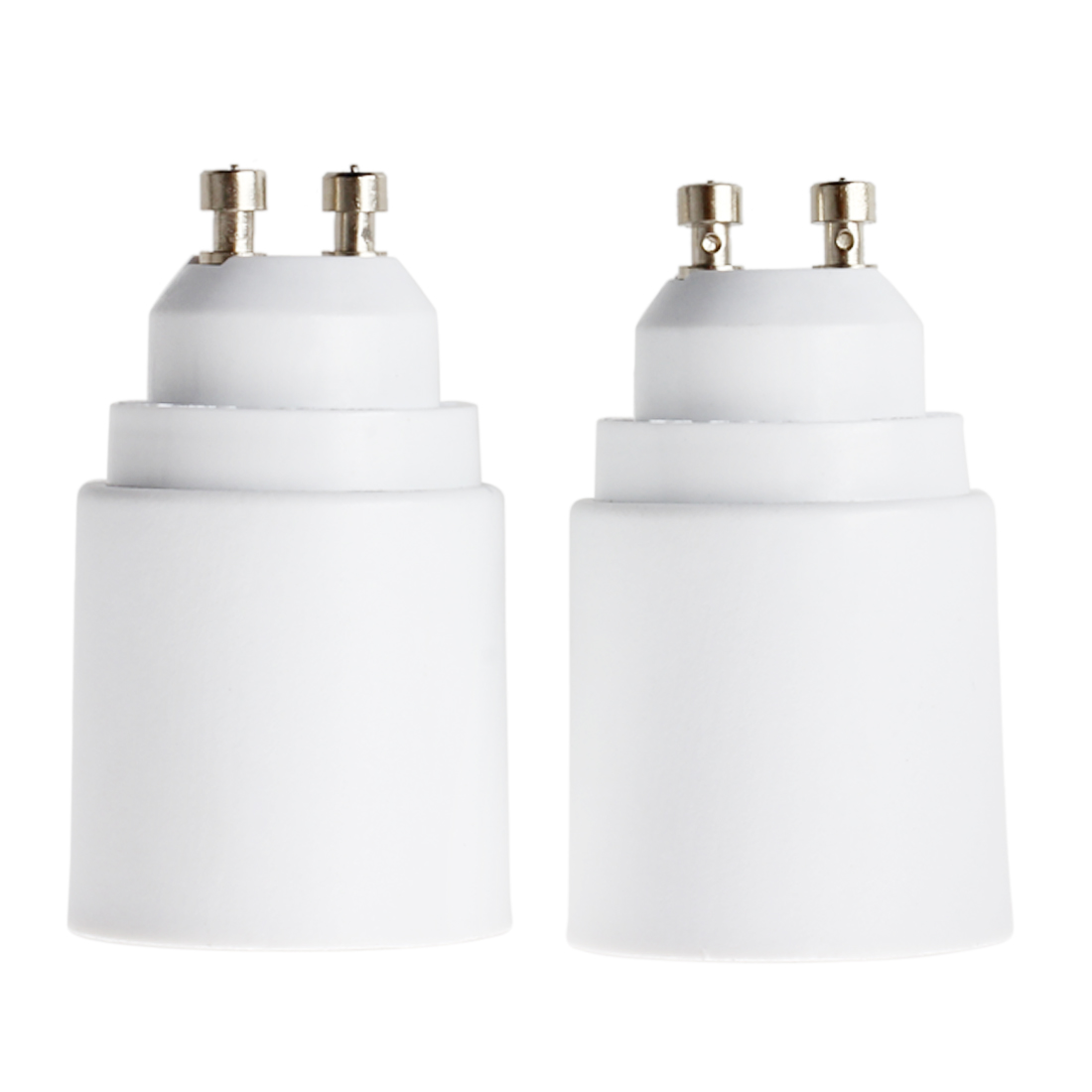 2 Packs White LED Light GU10 to E27 Plug Adapter