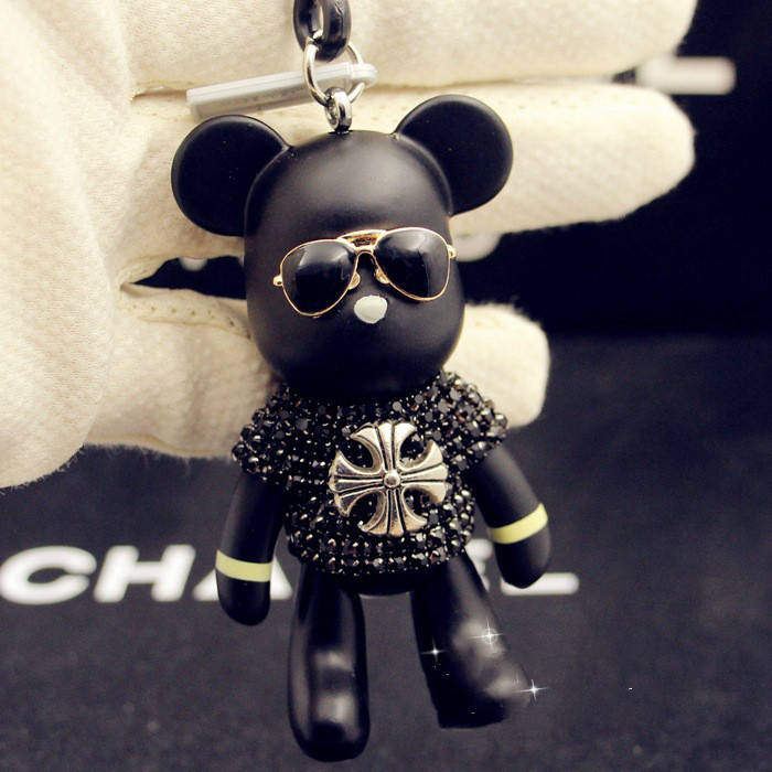 Cartoon Bomgom Popobe Gloomy Bear Keychain Key Chain Ring Holder Bag Charm Black Pendant Violence Car Rhinestone Glasses Bear