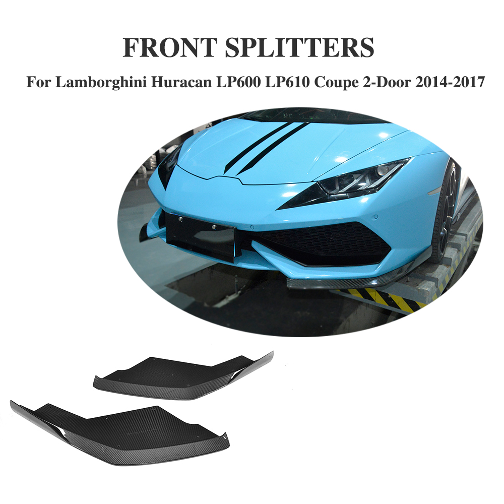 Exterior Parts Carbon Fiber Front Bumper Lip Splitter Aprons Flags Case For Lamborghini Huracan Lp600 Lp610 Coupe 2 Door 14-17 D Style
