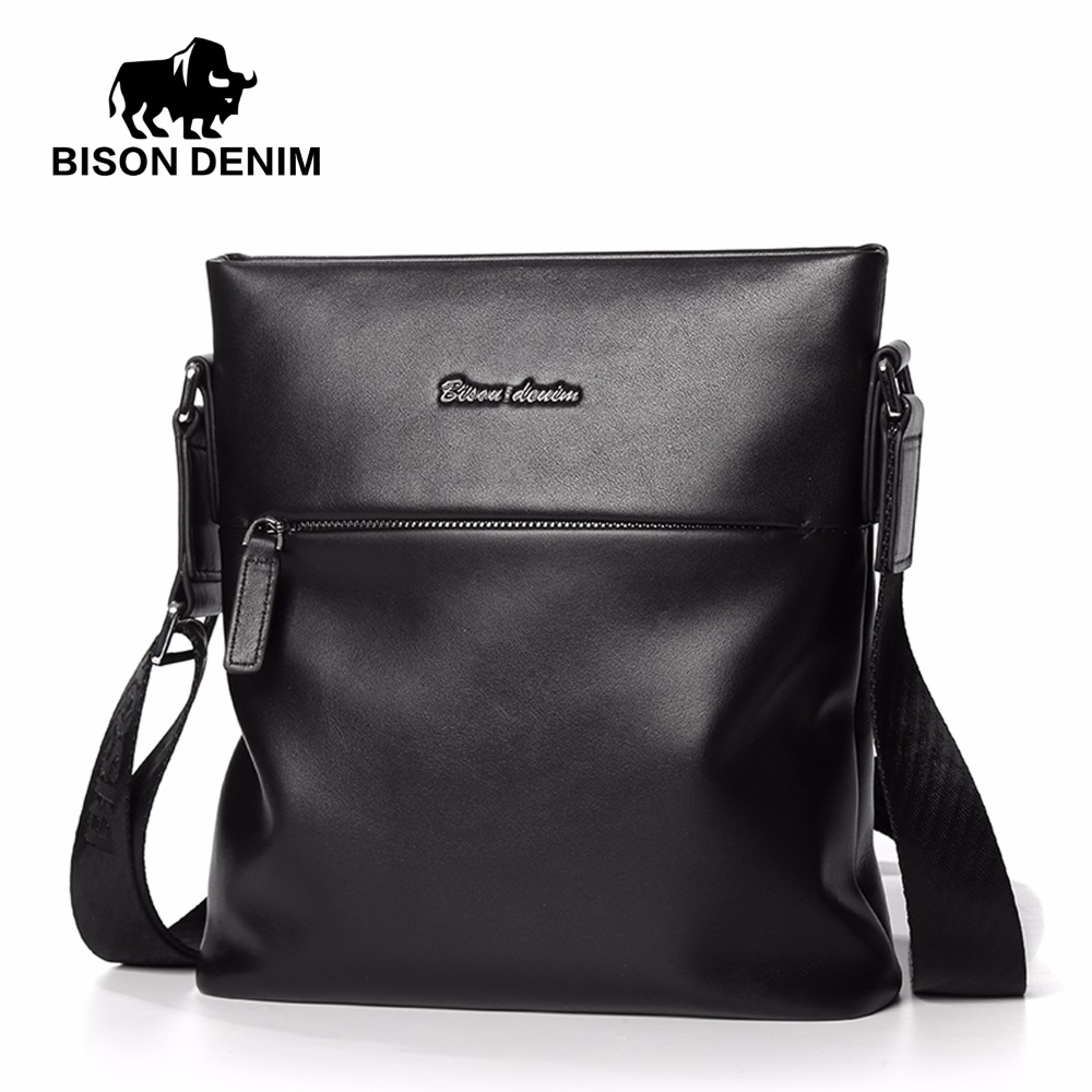 BISON DENIM fashion men bag genuine leather male shoulder bags casual mens messenger sokotoo men s colored painted snake 3d print jeans fashion black slim stretch denim pants