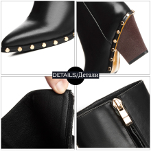 WETKISS Brand Genuine Leather Rivet Boots Women Thick High Heels Ankle Boot Female Zip Pointed toe Ladies Shoes Woman Autumn