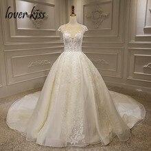 Liebhaber Kuss Vestido De Noiva Luxus Sparkle Hochzeit Dresse 2020 Spitze Perlen Cap Sleeves Prinzessin Brautkleider Robe De Mariee
