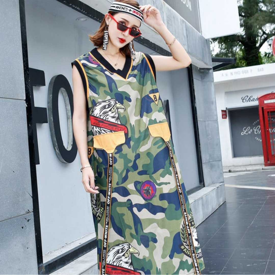 Women Summer Sleeveless Patch Ribbon Loose Casual Camouflage Tank Dress Female Streetwear Hip Hop Breathable Camo Vest Dress in Dresses from Women 39 s Clothing