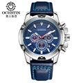 Ochstin marca nova moda casual homem cronógrafo masculino relógio exército militar esporte relógios de luxo pulseira de couro relógio de pulso de quartzo