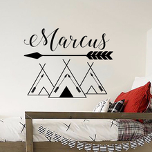 Customized Name Wall Decals Tribal Mountains Stickers Mountain Style Woodland Art Mural Kids Room Nursery LW120