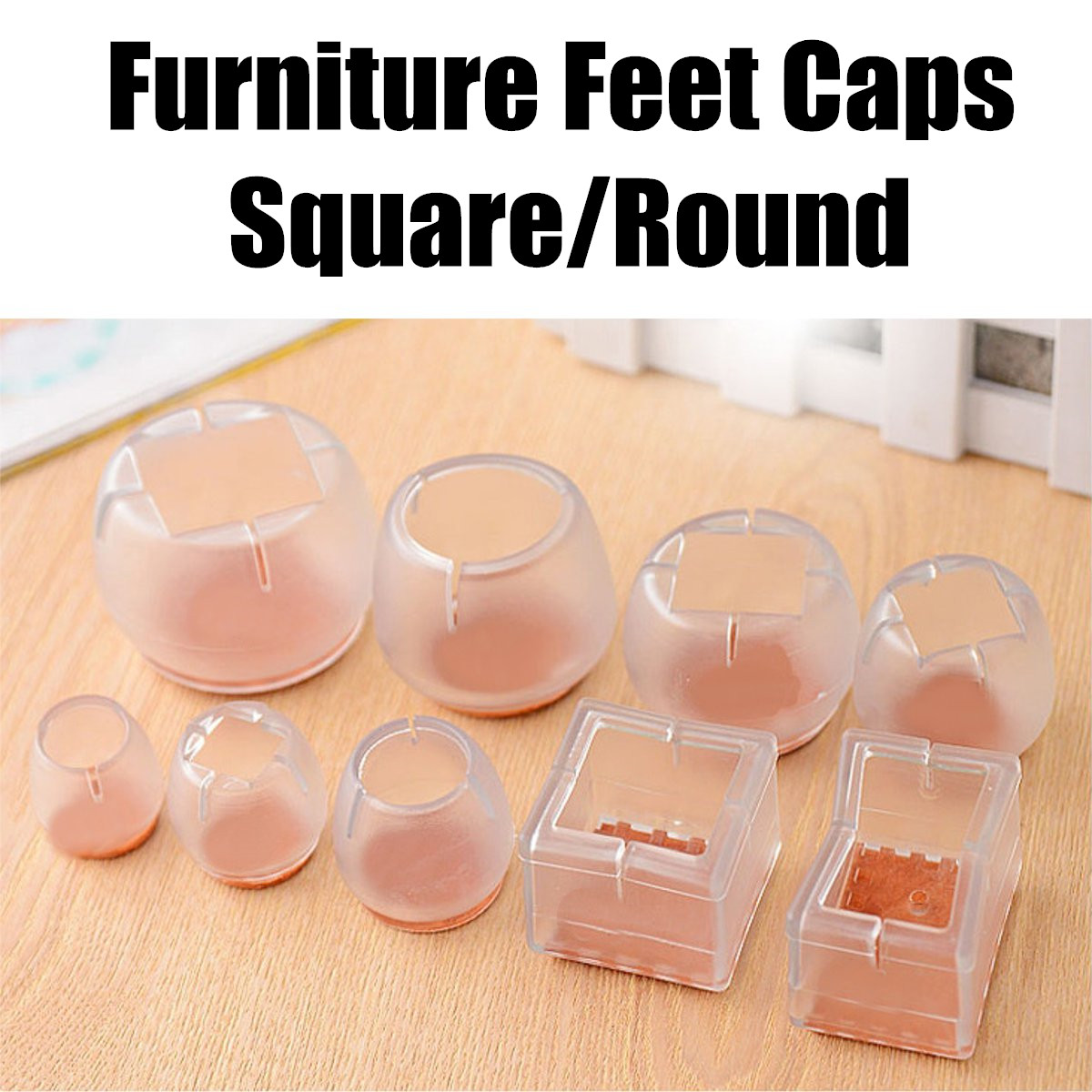 Silicone Square Round Chair Leg Foot Protect Pad Furniture Table Base Cap Cover Antiskid Floor Protection Furniture Feet Parts